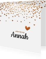 Geboortekaartjes - Geboortekaartje met rose gouden hartjes