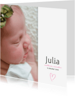Geboortekaartjes - Geboortekaartje met roze hartje