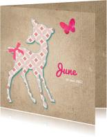 Geboortekaartjes - Geboortekaartje met silhouet van een hertje in retropatroon