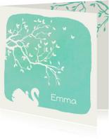 Geboortekaartjes - Geboortekaartje met silhouet van een zwaan met jong