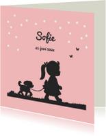 Geboortekaartjes - Geboortekaartje met silhouet van meisje en hondje