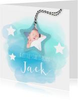 Geboortekaartjes - geboortekaartje met sterren en watercolord
