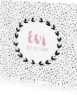 Geboortekaartjes - Geboortekaartje met stippen en een olijftak