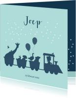 Geboortekaartjes - Geboortekaartje met treintje en dieren