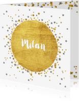 Geboortekaartjes - Geboortekaartje met vele sterretjes goud en zilver