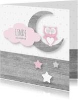 Geboortekaartjes - Geboortekaartje Owl Moon Girl