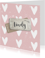 Geboortekaartjes - Geboortekaartje roze hart  label