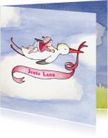 Geboortekaartjes - Geboortekaartje roze ooievaar