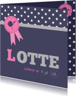 Geboortekaartjes - Geboortekaartje roze rozet