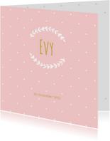 Geboortekaartjes - Geboortekaartje roze stipjes takje