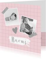 Geboortekaartjes - Geboortekaartje ruitpatroon foto's roze