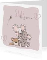 Geboortekaartjes - Geboortekaartje Saar Knuffels