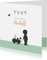 Geboortekaartjes - Geboortekaartje silhouet jongetje