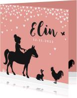 Geboortekaartje silhouet meisje met boerderijdieren