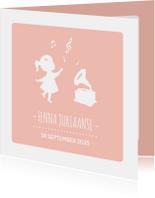 Geboortekaartjes - Geboortekaartje Silhouet muziek