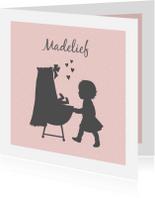 Geboortekaartjes - Geboortekaartje silhouet wieg zusje