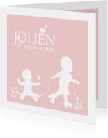 Geboortekaartjes - Geboortekaartje skate en rollerskate meisje