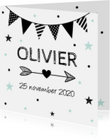 Geboortekaartjes - Geboortekaartje slinger zwart-wit jongen confetti