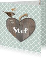 Geboortekaartjes - Geboortekaartje Stef mint groen hout- LO