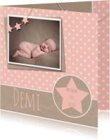 Geboortekaartjes - Geboortekaartje ster karton