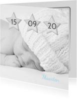 Geboortekaartjes - Geboortekaartje sterren datum A