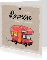 Geboortekaartjes - Geboortekaartje stoer en vintage met avontuurlijke caravan