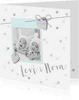 Geboortekaartjes - Geboortekaartje tweeling hartjes en foto mint