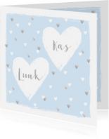 Geboortekaartjes - Geboortekaartje tweeling hartjes lichtblauw zilver