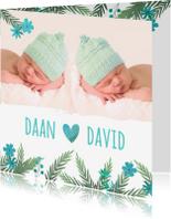 Geboortekaartjes - Geboortekaartje tweeling jongens takjes