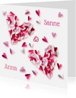 Geboortekaartjes - Geboortekaartje tweeling roze