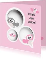 Geboortekaartjes - Geboortekaartje uil gezin meisje