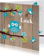 Geboortekaartjes - Geboortekaartje uiltje boom houtlook jongen