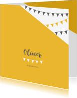 Geboortekaartjes - Geboortekaartje vierkant slinger geel