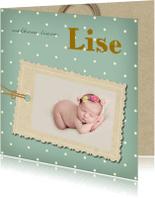 Geboortekaartjes - Geboortekaartje vintage label
