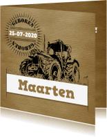 Geboortekaartjes - Geboortekaartje vintage tractor