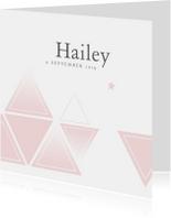 Geboortekaartjes - Geboortekaartje voor een meisje met geometrie en sterren