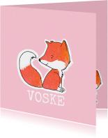 Geboortekaartjes - Geboortekaartje vos roze pastel