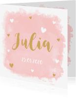 Geboortekaartjes - Geboortekaartje watercolour hartje meisje