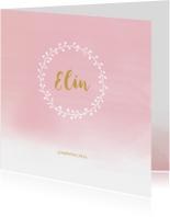 Geboortekaartjes - Geboortekaartje waterverf roze kransje
