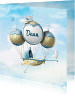 Geboortekaartjes -  Geboortekaartje wieg aan ballonnen