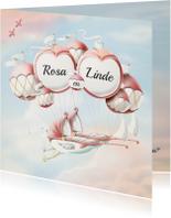 Geboortekaartjes - Geboortekaartje wiegjes aan ballonnen tweeling meisjes