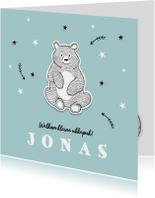 Geboortekaartje winter met beer en sterren