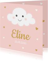 Geboortekaartjes - Geboortekaartje wolkje roze hartjes