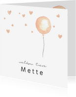 Geboortekaartjes - Geboortekaartje zalmroze waterverf ballon en hartjes