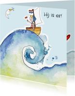 Geboortekaartjes - Geboortekaartje zee golf blond