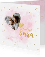 Geboortekaartjes - Geboortekaartje zusje foto hartjes aquarel