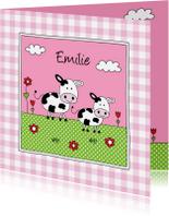 Geboortekaartjes - Geboortekaartje zusje koeien weiland