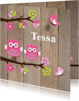 Geboortekaartjes - Geboortekaartje zusje uiltjes houtlook
