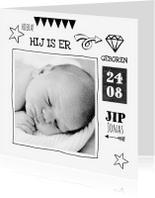Geboortekaartjes - Geboortekaartje zwart wit Jip