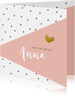 Geboortekaartjes - Geboortekaartje zwarte stipjes met roze vlak en goud hartje